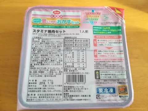 冷凍弁当の原材料